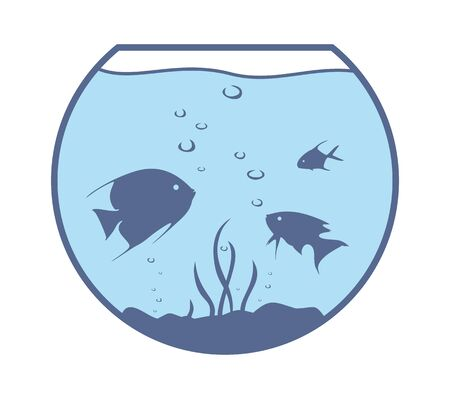 fishes: Round aquarium with fishes. Illustration