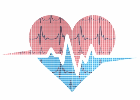 pacemaker: heart with cardiogram. Illustration
