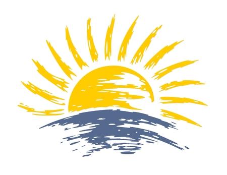 Sun dawn in the deep sea.  イラスト・ベクター素材