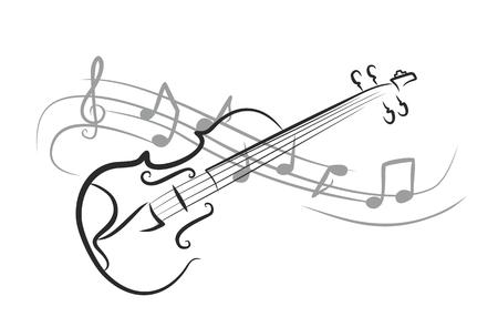 노트와 바이올린 스케치. 일러스트