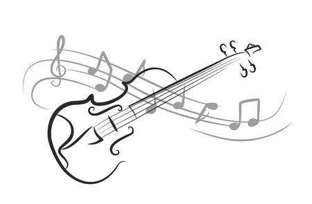 musical instrument: A violin sketch with notes.