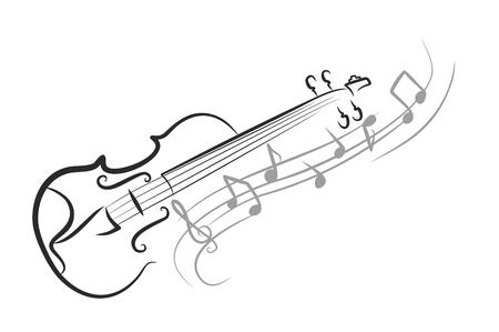 Szkic skrzypce z nut. Ilustracje wektorowe