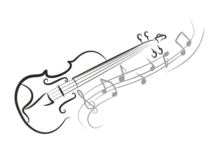 Uno schizzo violino con le note. Vettoriali