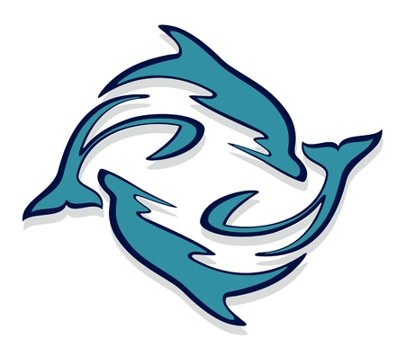 marine mammal: Logo with dolphins. Illustration