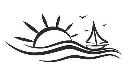 sunset beach: sailing vessel Logo in the sea.
