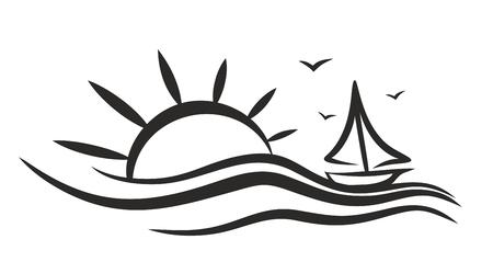 deep sea fishing: sailing vessel Logo in the sea.