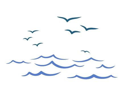 Flight birds over the ocean. Illustration