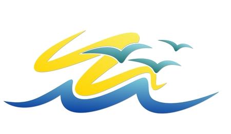seagulls: A sea logo with seagulls and the sun.