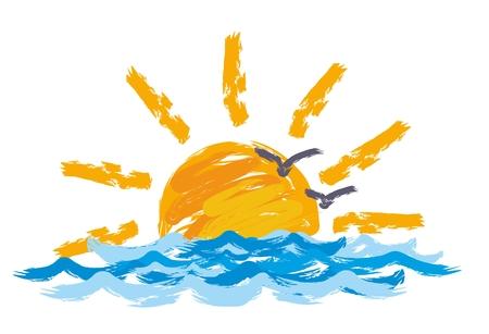 zon Dawn in de zee.