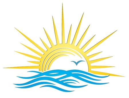albatross: A sun dawn logo in the sea.
