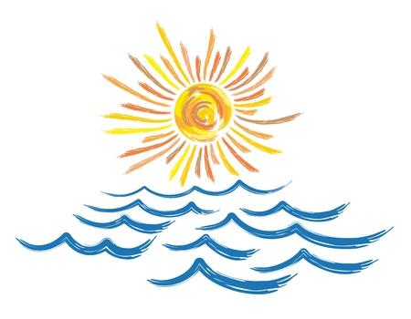 sea landscape: Sea landscape with sun.