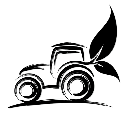 Logo of eco friendly tractor. Stock Illustratie