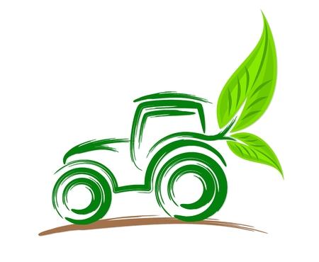 Logo of eco friendly tractor. Vectores