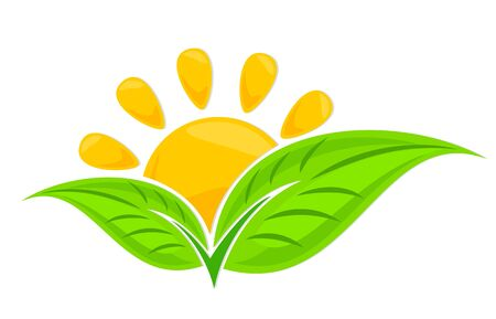 Logo of green plant with sun.
