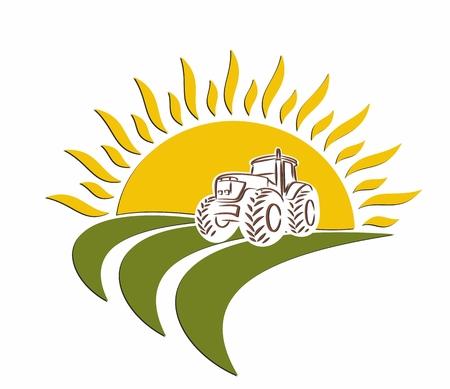 Logo, traktor w polu pszenicy od świtu do opalania. Logo