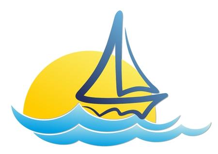 vessel: sailing vessel Logo in the sea.
