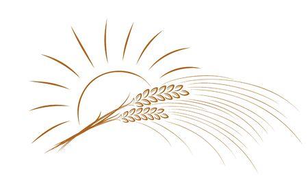 logo pszenicy ze słońcem. Logo