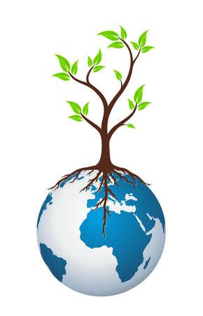 tree logo: globe Logo with tree.