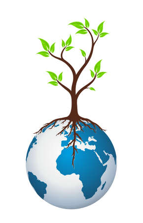 big tree: globe Logo with tree.