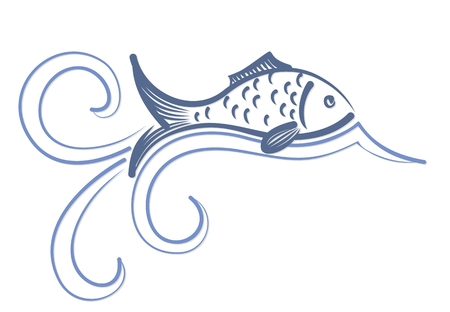 fishery: Logo of fish with wave.