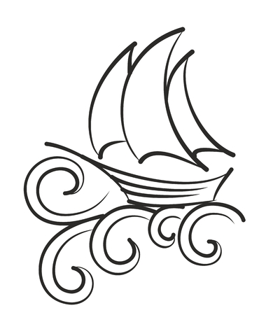 granola: Buque de vela con gran ola. Vectores