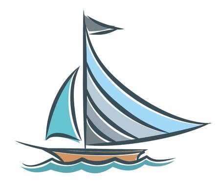 vessel: Blue sailing vessel in the sea.