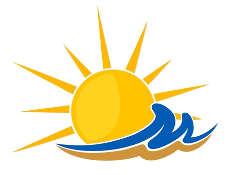 sunset beach: sun Logo with wave and sand.