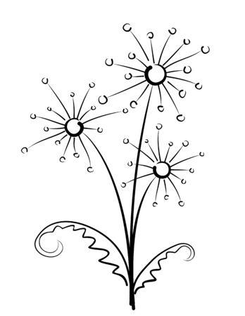dandelions: Bouquet of field dandelions. Illustration