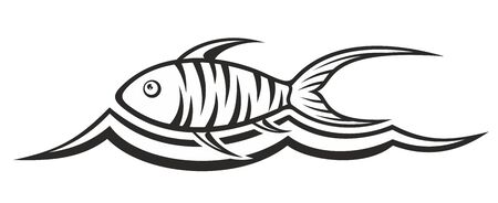 fisheries: Fish logo with wave.