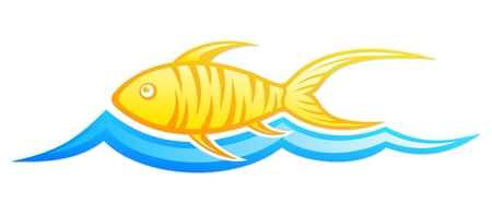 fishery: Logo fish with wave.
