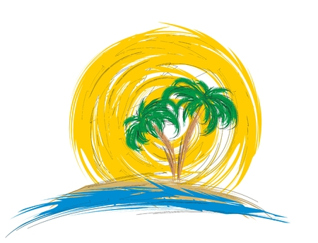sunset beach: Logo sea with palm tree.