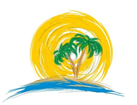 tree logo: Logo sea with palm tree.