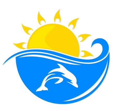 marine mammal: Sun and sea with dolphin.