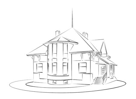 country house: Sketch of country house. Illustration