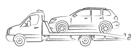 sketch: tow truck Sketch. Illustration