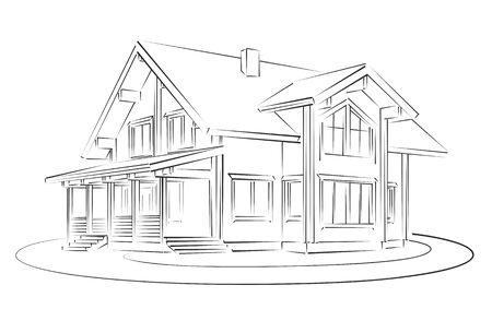 Skizze des Holzhauses. Standard-Bild - 59266576