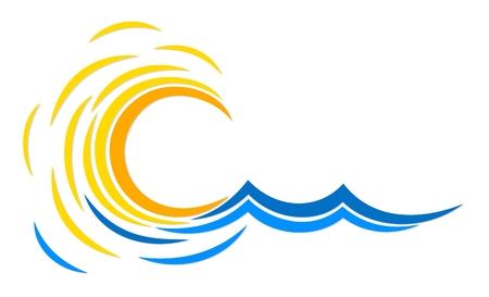 Logotipo del sol y el mar.