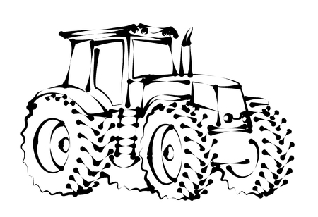 agro: Sketch of a big heavy tractor.