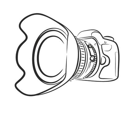 slr: Sketch of professional camera.