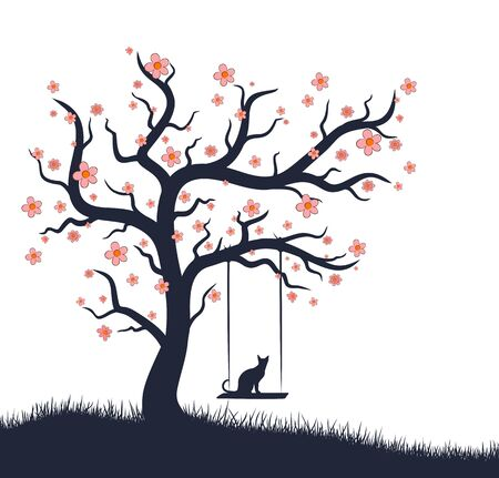 blossoming: The blossoming tree with cat on swing. Illustration