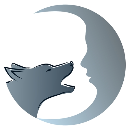 howl: Wolf with moon. Illustration