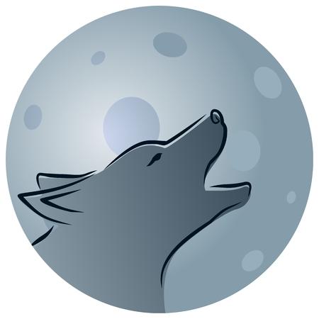 moon: Wolf with moon. Illustration