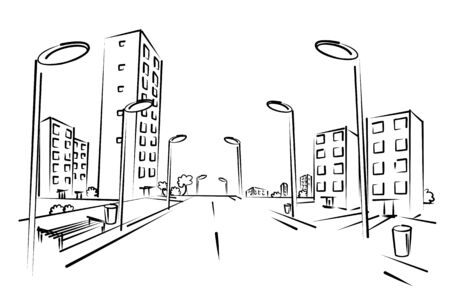 residential district: Sketch of city street.