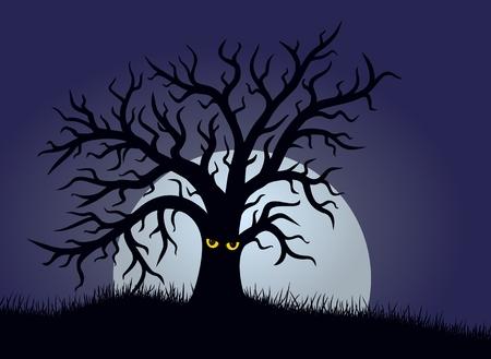 moon: Fantastic tree with moon. Illustration