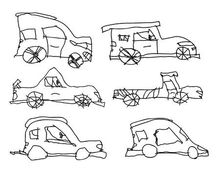 midget: Children drawings of cars.