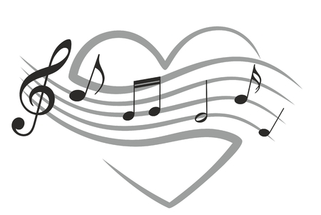 musical notation: Heart with music notes. Illustration