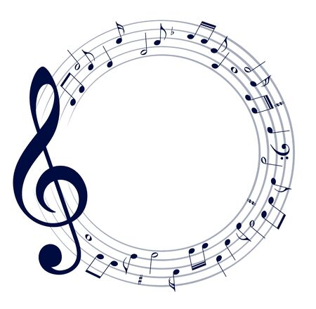 musical notation: Frame with notes. Illustration
