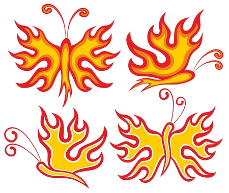 fiery: abstract fiery butterflies.