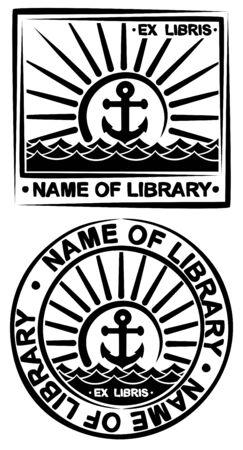 ex: Book symbol with sea.