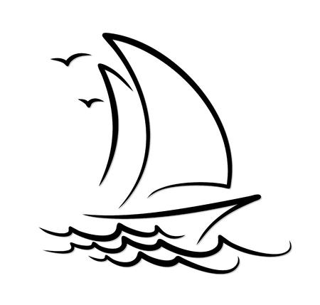 Imbarcazione di navigazione in mare. Vettoriali